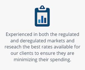 Experienced in both the regulated and deregulated markets and reseach the best rates available for our clients to ensure they are minimizing their spending.